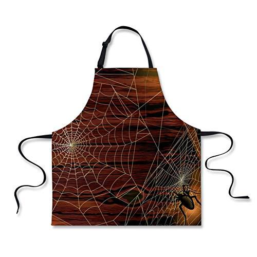 Lustige Küchenschürze 3D Spinnennetz Mode gedruckt Schürzen Kochen BBQ Backen Keramik und Grillen Schürzen Party Cosplay Kostüm Bestes Geschenk für - Besten Freund Lustig Kostüm