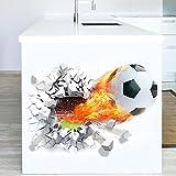 ALLDOLWEGE Die Kreative Flamme Fußball Dekorative Wand Aufkleber entfernbaren grünen Wohnzimmer Junge Kinder Zimmer Sticker 50 * 40 cm.