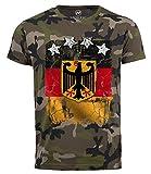 Neverless Cooles Herren Camo-Shirt WM Deutschland Fußball Design Sterne T-Shirt Camo XL