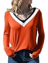ZODOF Blusas Mujer Tallas Grandes, Moda Mujer Casual Patchwork Color Block con Cuello en v