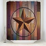 Anpassen Wasserdicht Dusche Vorhänge Western Texas Star auf Multicolor Holz Barn Print Retro Home Decor Kollektionen 54x78Inches Mehrfarbig