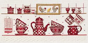 broderie la vaisselle rouge à broder au point de croix sur toile lin 11 fils collection dmc