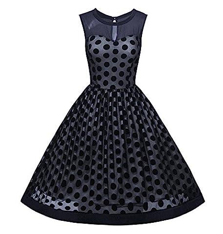 Minetom Femme Robe de Soirée Mesh Robe de Mariage Retro Cocktail Polka Dots Sans Manche 1950 Rockabilly Swing Party Robe Bleu FR 40