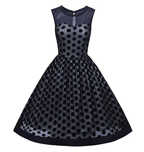 Minetom Damen Elegant 50er Jahr Aermellos Abendkleid Vintage Rockabilly Kleid mit Polka Dots Sommerkleid Knielang Blau DE 40 (Dots-stretch-bh Polka)