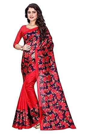 Sugathari Sarees Women's Red and Nevy Blue Mysore Bhagalpuri Art Silk Saree (Bhagalpuri Sarees 53 Red N Blue)