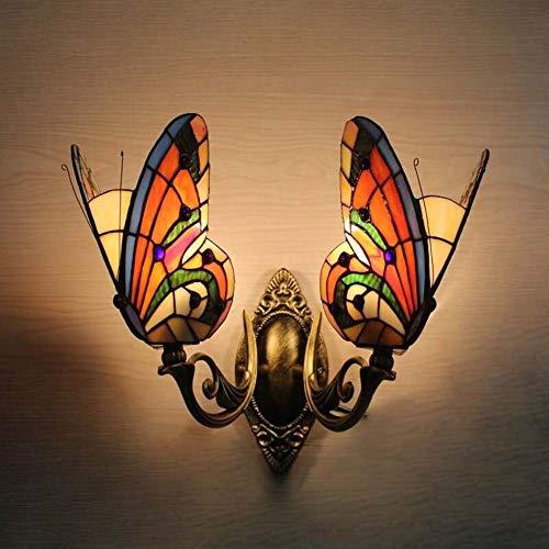 GAOLIQIN Lámpara de Pared de Mariposa Estilo Tiffany, lámpara de Espejo Frontal de Vidrio Manchado, Dormitorio Vintage Hecho a Mano Junto a la luz de la Pared del Pasillo (Color : Segundo)