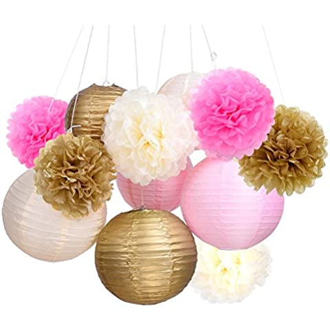 Outus Flores de Pompones de Papel de Seda y Faroles de Papel para Decoración de Fiestas, 12 Piezas