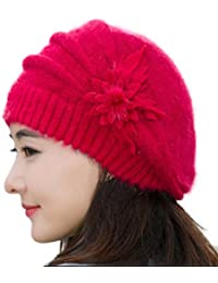 FAMILIZO Manera de las mujeres de la flor de punto de ganchillo Beanie sombrero caliente del invierno del casquillo de la boina