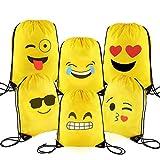 Sunshine D Emoji Kinder Turnbeutel, 6 Stück Partei Zubehör Giveaway Kinder Geburtstagsgeschenk Tasche für Kinder Sporturlaub, Schwimmen, Geburtstag Party Favor Weihnachten