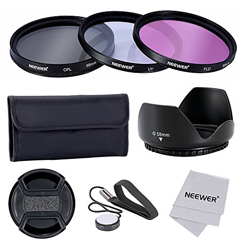 Galleria fotografica Neewer® 58mm Lente Filtro Kit Accessori per Fotocamere CANON EOS 700D 650D 600D 550D 500D 450D 400D 350D 300D 1100D 1000D 100D 60D / Rebel T5i T4i T3i T3 T2i T1i XT XTi XSi SL1 DSLR - Include: (1)58mm Set Filtro (UV, CPL, FLD) + (1) Paraluce Tulipano + (1) Snap-on Coprilente + (1) Coprilente Custode Guinzaglio + (1) Filtro Custodia per il Trasporto + (1)Microfibra Panno di Pulizia
