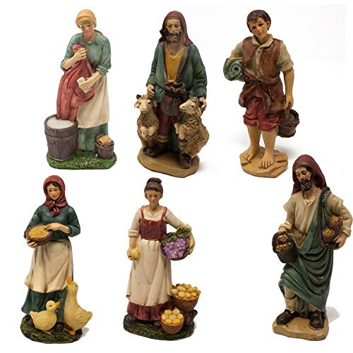 Joy christmas pastori in resina 15 cm per presepe set da 6 pezzi assortiti - 48209