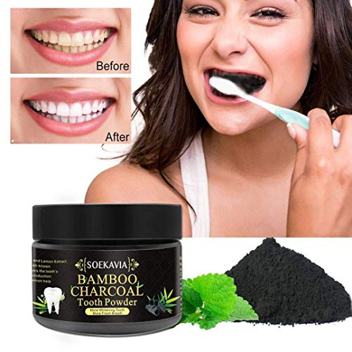 Aliver Zahnaufhellung Pulver & Whitening Teeth Powder Zahnpasta Organische Natürliches Kokosnuss Zahnpasta Bambus Aktivierte Aktivkohle Pulver Bambus Holzkohle (50g) - Bambus-pulver