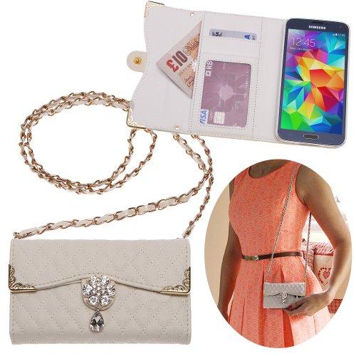 Xtra-Funky Esclusivo Samsung Galaxy S6 Lusso Faux Custodia in pelle trapuntata borsa della borsa di stile con la cinghia da trasporto e splendidamente decorate fiore di cristallo - Bianco (include un mini stilo e schermo LCD PELLICOLA)