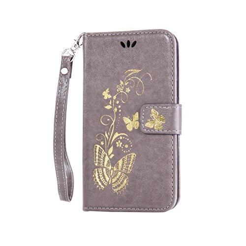 Anlike Lenovo A1000 Hülle, Schutzhülle für Lenovo A1000 Wallet Tasche [Butterfly geprägte Serie Bronzing] Handyhülle - Grau