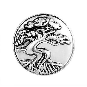 ANDANTE Chunk Click-Button Druckknopf ** Lebensbaum Tree of Life ** für Chunk-Armbänder, Chunk-Ringe, Chunk-Schlüsselanhänger und Andere Chunk-Accessoires + Organzasäckchen
