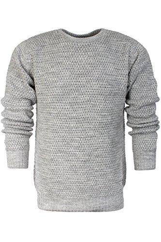 Da uomo Brave Soul Kenobi Chunky Maglione maglia lavorata Silver Grey