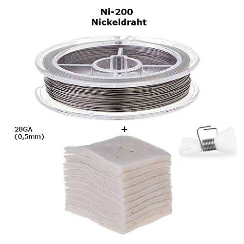 Nickel-200 Selbstwickelverdampfer Zubehör Set, Japanese Bio Baumwolle + Selbstwickeldraht (Ni-200 Draht 28GA) (Nickel Set)