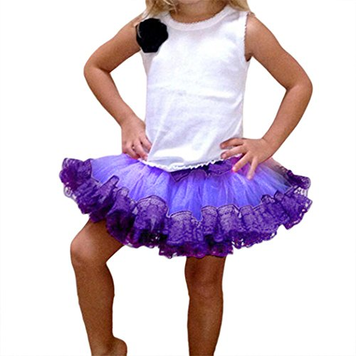 MIOIM Mädchen Tutu Tütü Tanzrock Ballettrock Mini Layered Ballettröckchen Minirock Petticoat mit Spitze Rand 4-10 Jahre