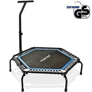 Merax Mini Trampoline Fitness Indoor,TÜV-Geprüft,5 Fach Höhenverstellbarem Haltegriff & Randabdeckung,Klappbare Gymnastiktrampolin für jumpsport bis 100kg