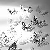 new12pcs 3D Schmetterling Wand Aufkleber art Aufkleber Zuhause Zimmer Dekorationen Decor (schwarz & weiß)