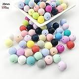 Best for baby Dientes de silicona 100pcs (20mm) Silikon kette Mischfarbe Natürlich Silikon Perlen BPA frei Ungiftig Baby beißring DIY Halskette Armband Zubehör Baby spielzeug