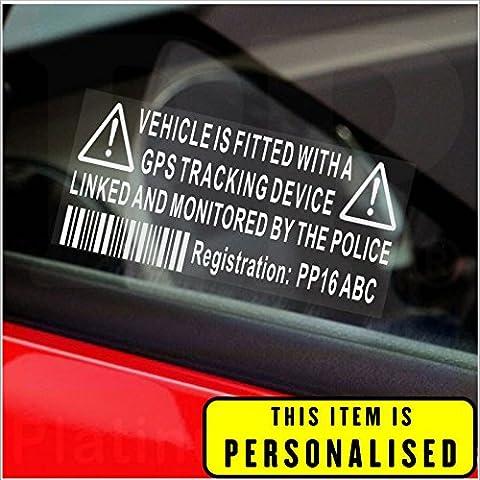 4 x / Fake GPS Rastreador personalizada dispositivo de sistema de alarma de la unidad de Seguridad Maniquí de la ventana de advertencia pegatinas con código de registro, número de etiqueta impresa-Policía sesión monitorizados para coches, Van, de camiones, caravanas, autocaravanas, camiones, Taxi, Minicab,