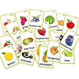 SANCENT 21 PCS - Fruits Flash Cards- Educational Learning Picture & Word Card Cards(English Word Learning Card & Pocket Size Flash Card for Children And Preschool) 12x9cm-English Vocabulary Cards