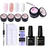 UR SUGAR 15ml Poly Quick Gel Unghie Kit, Unghie Finte Fingers Poly Extension Gel Spazzola per Unghie Finte Manicure builder Kit, Dual Form, Slip Solution, Dual-end Brush+Top Coat & Base Coat