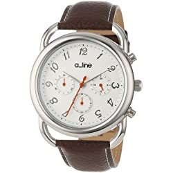 a_line Women's 80012-02-BR Maya Chronograph Silver Dial Brown Leather Watch