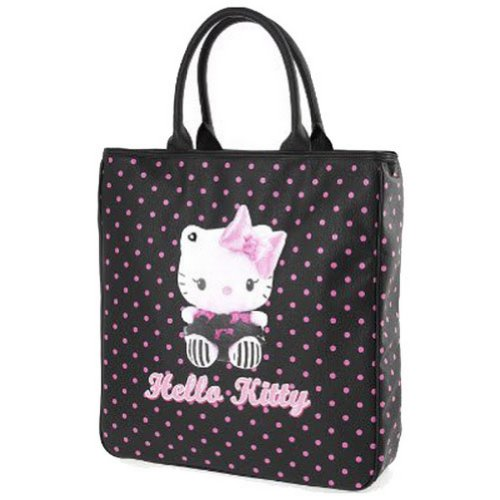 Hello Kitty By Camomilla - Sac à Main Shopping Femme Simili Cuir Dotty Noir à Pois Roses - Accessoire de Mose Neuf