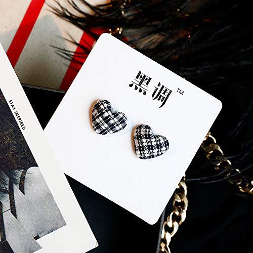 SIWUXIE OrecchiniPanno bottoni orecchini amore temperamento femminile coreano orecchini femminili balletto ragazza semplice orecchio gioielli pesca pesca, 7 ★ a forma di cuore bianco + nero