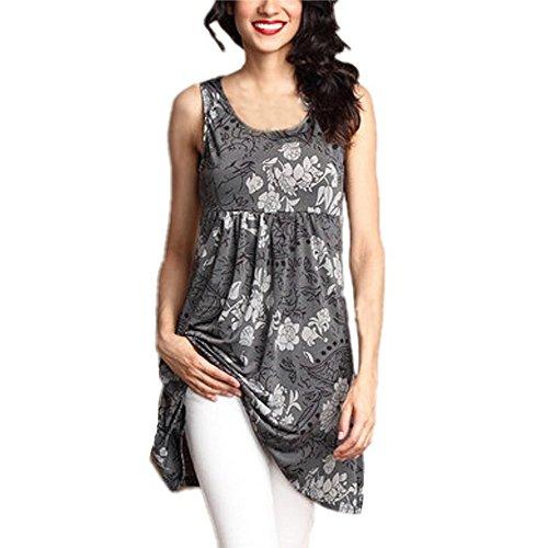 (Yvelands Damen Weste Tank Top Lässig Rundhals Pullover Ärmelloses T-Shirt Kleid Schlank Druck Plus Size Tops Bluse(Gray2,CN-4XL))