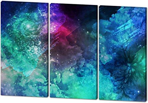 Das etwas andere Farbenspiel, Gemälde Effekt, schönes und hochwertiges Leinwandbild zum Aufhängen in XXL - 3 Teiler mit 120cm x 80cm, echter Holzrahmen, effektiver Pigmentdruck, modernes Design für Ihr Büro oder Zimmer