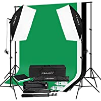 CRAPHY Photo Studio Softbox 2x125W Continuous Lighting Kit, Green Screen Photography Kit with 2 Softboxes, 3 Muslin Cotton Backdrops 2x3m and Background Stand, 2 Light Bulbs 125W and Carrying Bag