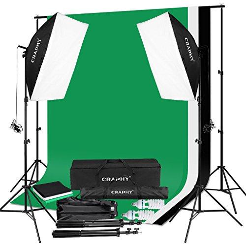 CRAPHY 2x125W Fotostudio Sets Softbox Studioleuchte Kit mit 1,8Mx2,8M Musselin Hintergrund (Schwarz,Weiß,Grün) 5500K Glühbirnen,3Mx2M Hintergrund Unterstützungssystem (Hintergrund Kit)