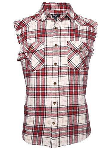SOOPO Herren Ärmellose Kariert Flanell Hemden Freizeithemd aus Baumwolle Sleeveless T-Shirt(rot&beige,3XL)