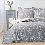 BEDSURE Bettwäsche Set Grau & Beige 155x220cm Bettbezug mit Zweige Muster, Super Weiche Atmungsaktive Mikrofaser Bettwäsche, 3-teilig mit Reißverschluss 2 Kissenbezüge 80x80cm