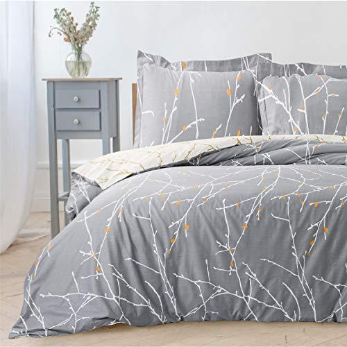 BEDSURE Bettwäsche Set Grau & Beige 200x200cm Bettbezug mit Zweige Muster, Super Weiche Atmungsaktive Hypoallergen Mikrofaser Bettwäsche, 3-teilig mit Reißverschluss 2 Kissenbezüge 80x80cm
