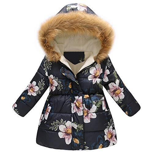 sunnymi 2-7 Jahre Mantel Mädchen Jungs Winter Floral Warme Jacke mit Kapuze Winddicht