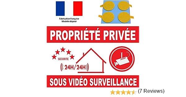 Panneau de dissuasion propri/éte priv/ée sous vid/éo surveillance 160x100mm