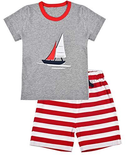 EULLA Jungen Zweiteiliger Schlafanzug Baumwolle Kurzarm Nachtwäsche Flugzeuge/Segeln Kinder Pyjama, 04 Grau, 98 (Herstellergröße: 100)