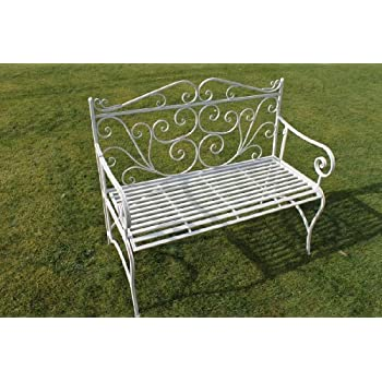 Versailles Folding Metal Garden Bench In Antique White Finish