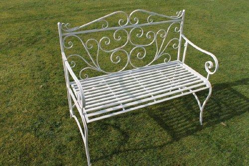 Zusammenklappbare Gartenbank aus Metall, im Versailles-Stil und in antikem Weiß
