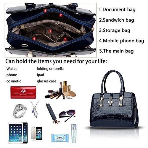 Sunas Sacchetto di spalla trasversale del raccoglitore del sacchetto del pacchetto del pacchetto del sacchetto di pacchetto del sacchetto di pacchetto del sacchetto della nuova borsa delle donne Blu scuro