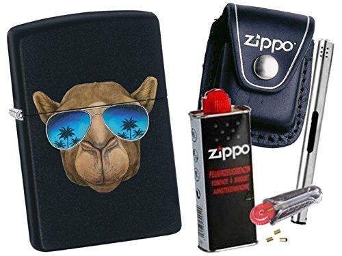 Zippo Camel With Sunglasses + Zippo POUCH mit Zippo Zubehör und L.B Chrome Stabfeuerzeug (mit LOOP Black Pouch) (Camel Zippo)