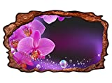 3D Wandtattoo Orchidee Blume lila rosa Wasser Bild selbstklebend Wandbild sticker Wohnzimmer Wand Aufkleber 11H1257, Wandbild Größe F:ca. 97cmx57cm