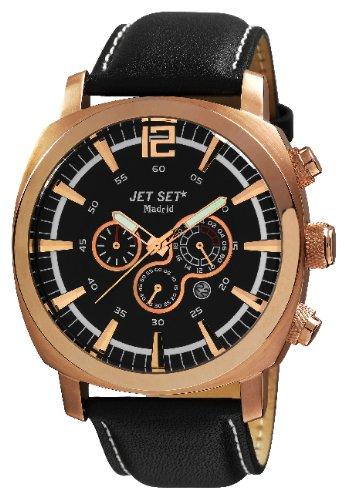 Jet Set J3268r-237Madrid–Watch Men–Quartz–Chronograph–Black Dial–Black Leather Strap