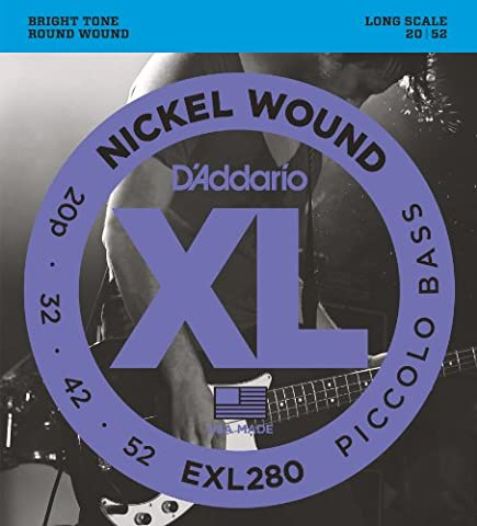 D'Addario EXL280 XL Nickel Wound Piccolo (.020-.052) Electric Bass Guitar Strings