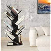 Étagère Livres Bibliothèque en Forme d'arbre Étagère de Rangement CD/DVD Livres Meuble de Rangement avec 7 étages pour Bureau, Salon, Chambre Noir