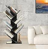 Modernes Regal, 7 Fächer, Baum-Bücherregal, Kompaktes Bücherregal, Ausstellen, Aufbewahrung, Möbel, für CDs, Filme und Bücher, für bis zu 7Bücher Pro Regal, Bücherregal Wohnzimmer Schwarz